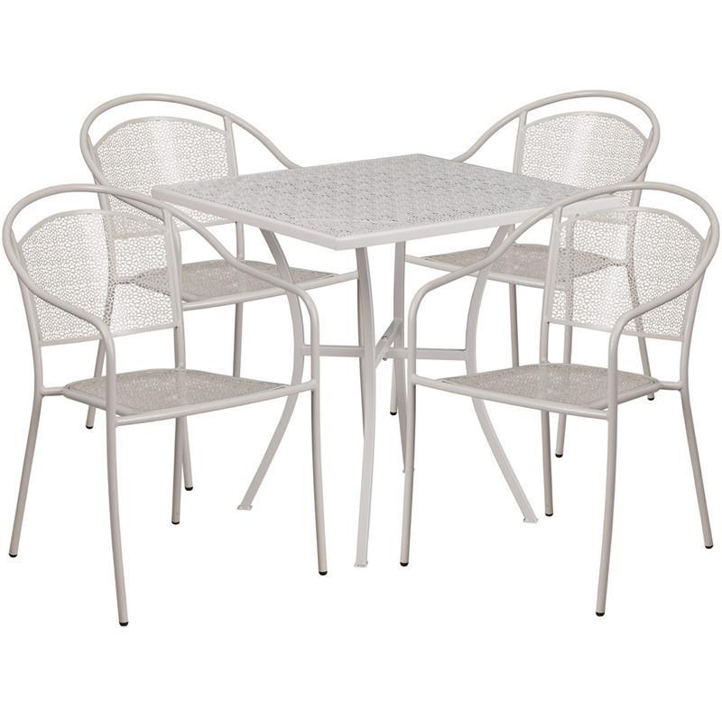 28 Square Light Gray Indoor Outdoor Steel Patio Table Set with 4 Round Back Chairs