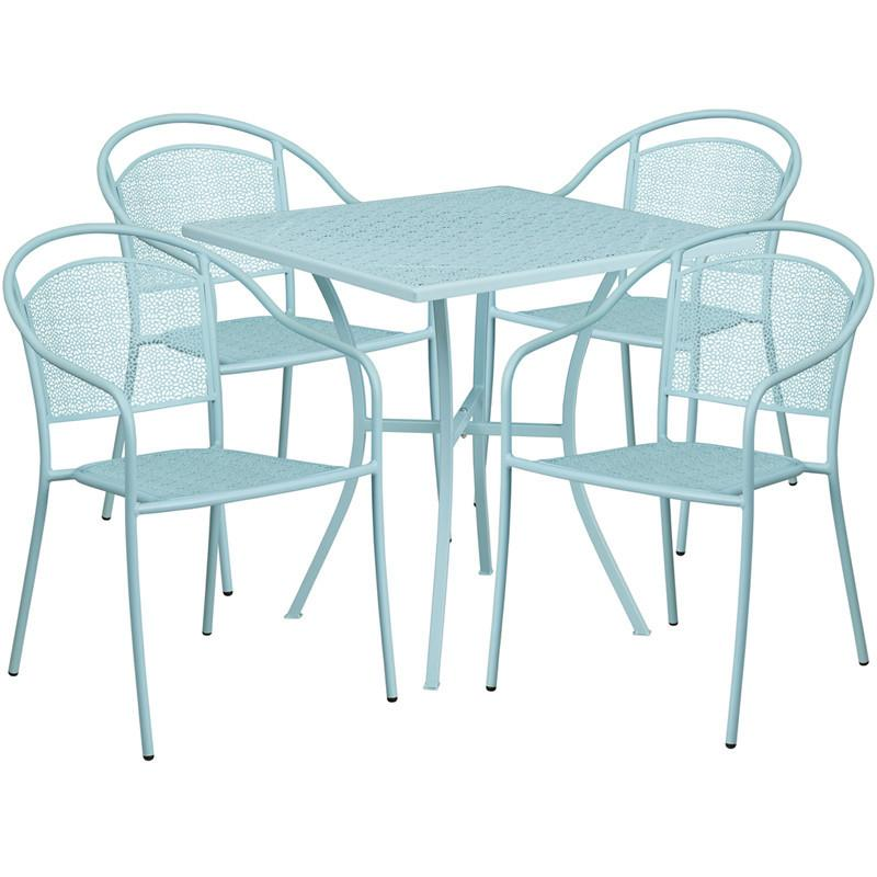 28 Square Sky Blue Indoor Outdoor Steel Patio Table Set with 4 Round Back Chairs