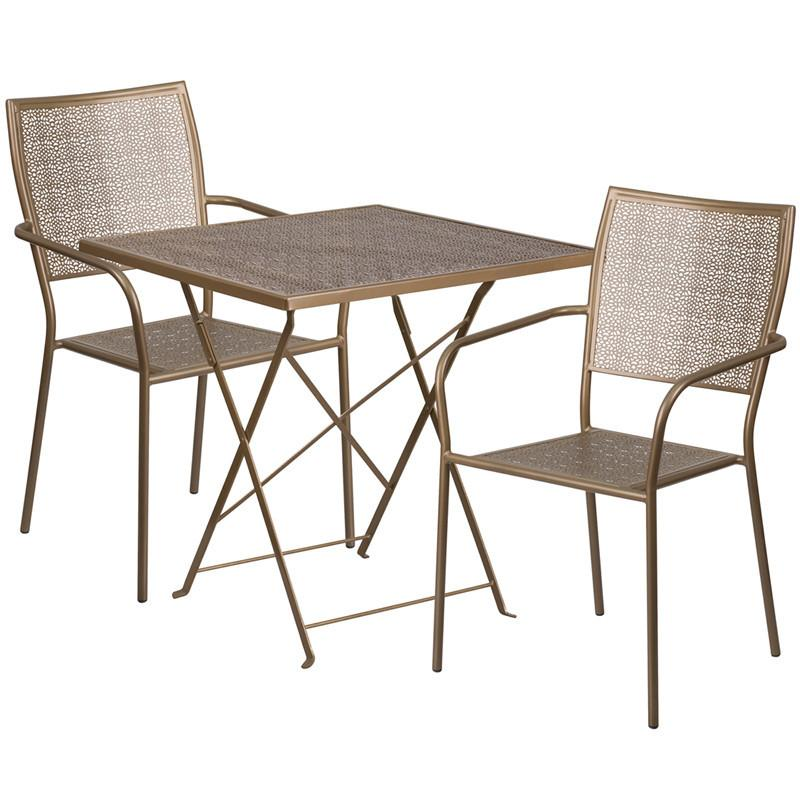 28 Square Gold Indoor Outdoor Steel Folding Patio Table Set with 2 Square Back Chairs