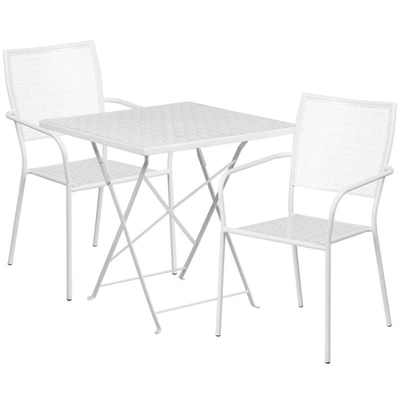 28 Square White Indoor Outdoor Steel Folding Patio Table Set with 2 Square Back Chairs