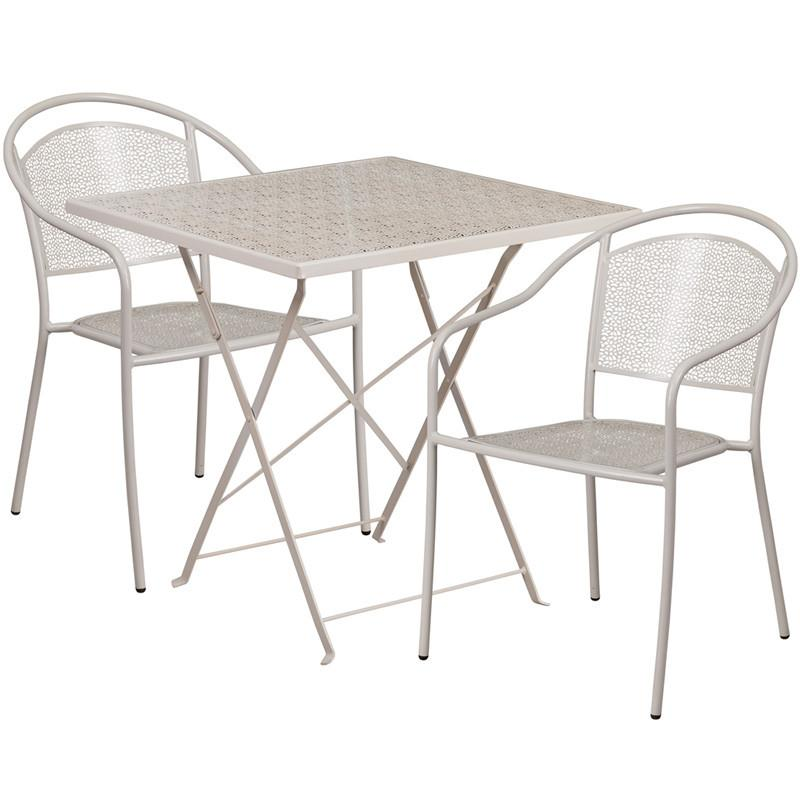 28 Square Light Gray Indoor Outdoor Steel Folding Patio Table Set with 2 Round Back Chairs