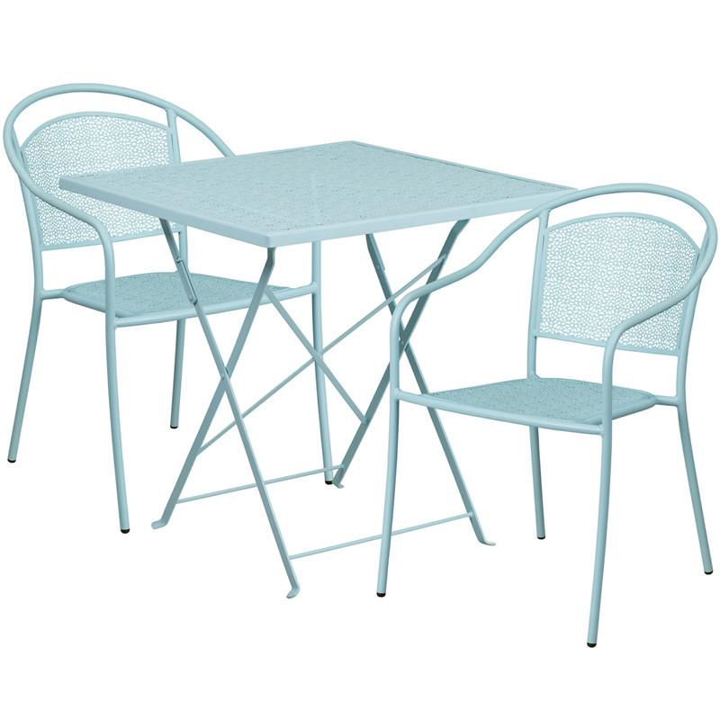 28 Square Sky Blue Indoor Outdoor Steel Folding Patio Table Set with 2 Round Back Chairs