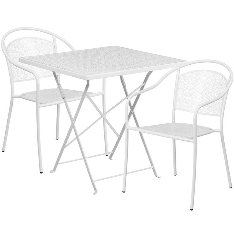 28 Square White Indoor Outdoor Steel Folding Patio Table Set with 2 Round Back Chairs