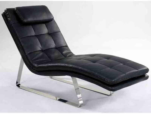 Chintaly CORVETTE-LNG-BLK Chaise Seat - Black
