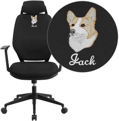 Flash Furniture CS-75-EMB-GG Embroidered High Back Black Fabric Executive Swivel Office Chair with Height Adjustable Headrest - Peazz.com