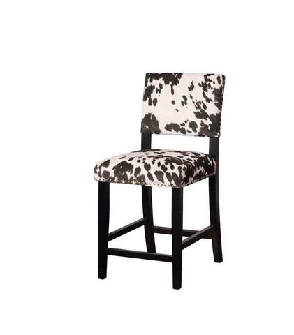 Linon CS038COW01U Clayton Black Cow Print Counter Stool