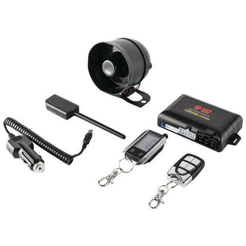 CrimeStopper Security Products SP-502 2-Way LCD Paging Combo Alarm, Keyless-Entry & Remote-Start System with Rechargeable Remote - Peazz.com