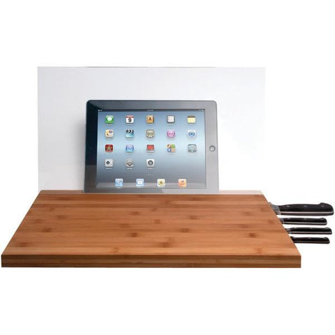 CTA Digital PAD-BCBG iPad Air/iPad with Retina display/iPad 3rd Gen/iPad 2/iPad mini/Tablet & Knife Storage Bamboo Cutting Board with Screen Shield - Peazz.com