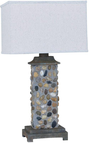 Crestview Collection CVAVP079 River Rock Outdoor Table Lamp 17/11 X 17/11 X 11 - PeazzLighting