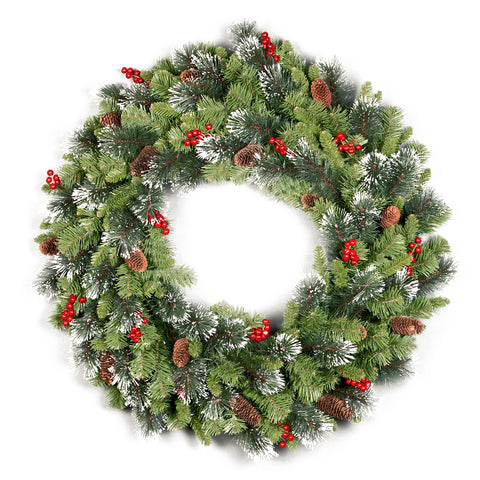 "National Tree CW7-10-36W-1 36"" Crestwood Spruce Wreath with Cones, Glitter & Red Berries"