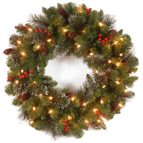 "National Tree CW7-306-24W-1 24"" Crestwood Spruce Wreath with Silver Bristle, Cones, Cones, Red Berries and Glitter with 50 Clear Lights"