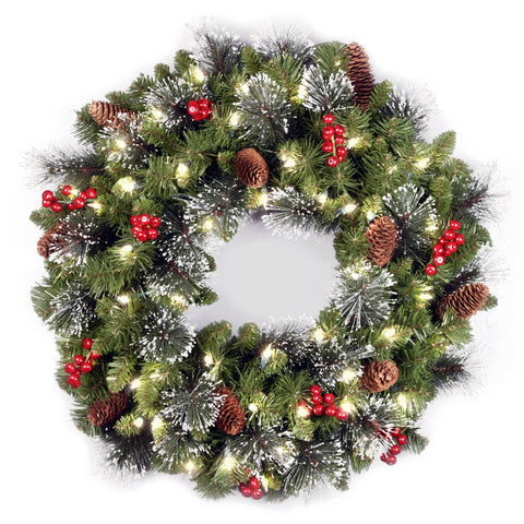 "National Tree CW7-306-24W-B1 24"" Crestwood Spruce Wreath with Silver Bristle, Cones, Cones, Red Berries and Glitter with 50 Battery LED Lights"