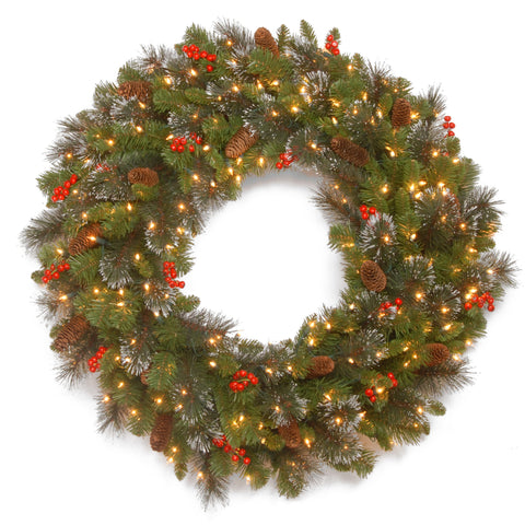 "National Tree CW7-306-36W-1 36"" Crestwood Spruce Wreath with Silver Bristle, Cones, Red Berries and Glitter with 200 Clear Lights"