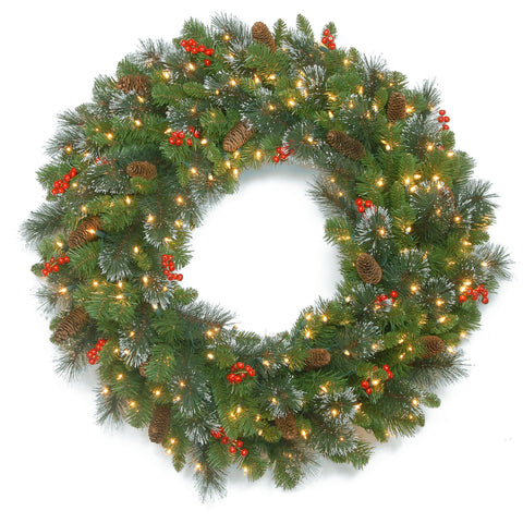 "National Tree CW7-306-48W 48"" Crestwood Spruce Wreath with Silver Bristle, Cones, Red Berries and Glitter with 250 Clear Lights"