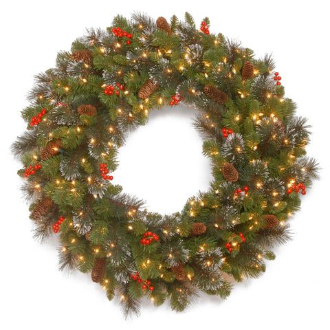 "National Tree CW7-309L-30W-B1 30"" Crestwood Spruce Wreath with Silver Bristle, 12 Cones, 12 Red Berries, Glitter and Battery Operated LED Lights with Timer"