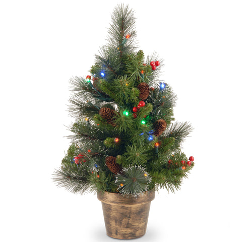 National Tree CW7-334M-20 2' Crestwood Spruce Small Tree with Silver Bristle, Cones, Red Berries and Glitter in a Plastic Bronze Pot with 35 Battery Operated Multi LED Lights