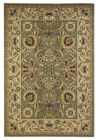 "KAS Rugs Cambridge 7304 Green/Taupe Kashan Machine-Made 100% Heat-set Polypropelene 20"" x 31"""