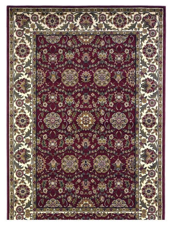 "KAS Rugs Cambridge 7306 Red/Ivory Floral Agra Machine-Made 100% Heat-set Polypropelene 5'3"" x 7'7"""