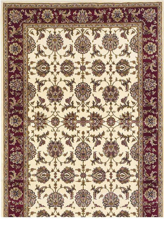 "KAS Rugs Cambridge 7312 Ivory/Red Kashan Machine-Made 100% Heat-set Polypropelene 7'7"" x 10'10"""