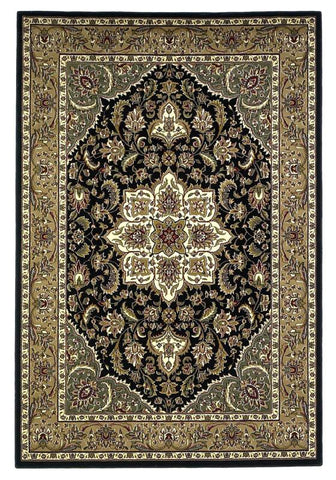 "KAS Rugs Cambridge 7327 Black/Beige  Kashan Medallion Machine-Made 100% Heat-set Polypropelene 5'3"" x 7'7"""