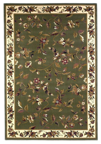 "KAS Rugs Cambridge 7332 Sage/Ivory Floral Vine Machine-Made 100% Heat-set Polypropelene 3'3"" x 4'11"""
