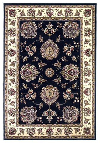 "KAS Rugs Cambridge 7339 Black/Ivory Floral Mahal Machine-Made 100% Heat-set Polypropelene 7'7"" Round"