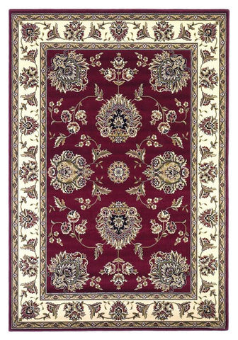 "KAS Rugs Cambridge 7340 Red/Ivory Floral Mahal Machine-Made 100% Heat-set Polypropelene 20"" x 31"""