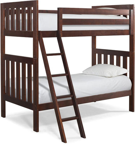 Canwood 2505-4 Lakecrest Twin/Twin Bunk Bed Bundle-Cherry (Angled Ladder)                                                    - Peazz.com