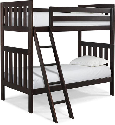 Canwood 2505-9 Lakecrest Twin/Twin Bunk Bed Bundle-Esepresso (Angled Ladder)                                                   - Peazz.com