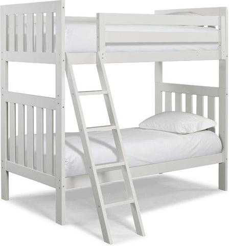 Canwood 2505-1 Lakecrest Twin/Twin Bunk Bed Bundle-White (Angled Ladder)                                                   - Peazz.com