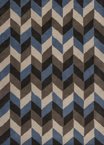"KAS Rugs Chelsea 2383 Slate/Grey Chevron Hand-Tufted 100% Wool 27"" X 45"""
