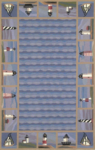 KAS Rugs Colonial 1802 Blue Lighthouse Waves Hand-Hooked 100% Wool 2' x 8' Runner