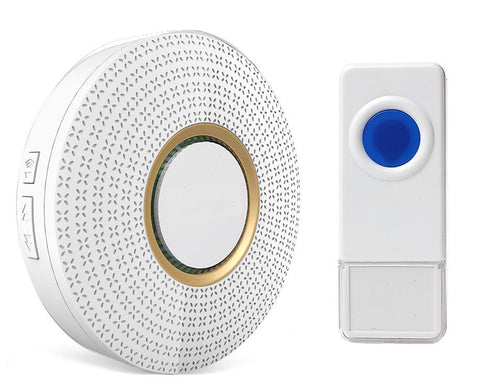 Wireless Waterproof Doorbell / Panic Button, D2 Series, 52 Chimes, White - 1,000 Ft Range