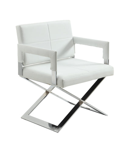 "Chintaly DAKOTA-AC-WHT Oversized ""X"" base Arm Chair"
