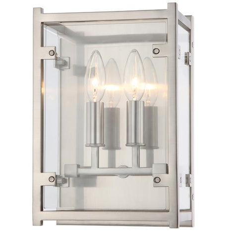 Crystorama Danbury 2 Light Brushed Nickel Sconce