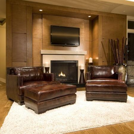 Element Home Furnishing DAV-2PC-SC-SC-SADD-1 Davis 2-Piece Set Top Grain Leather Accent Chairs in Saddle