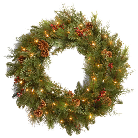 "National Tree DC13-103-30WB-1 30"" Decorative Collection Noble Mixed Wreath with Red Berries, Cones and 50 Soft White LED Battery Opreated Lights"