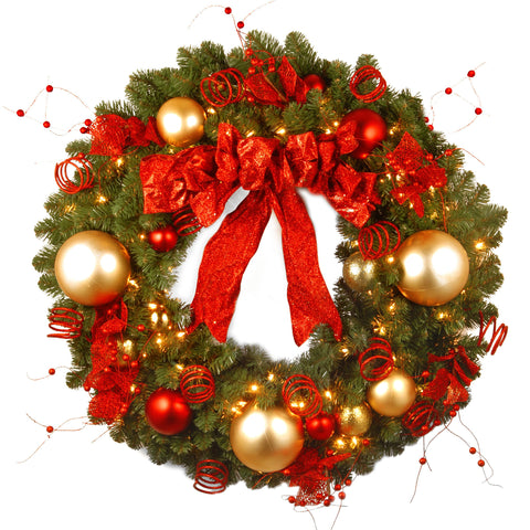 "National Tree DC13-104L-36W 36"" Decorative Collection Cozy Christmas Wreath with 100 Red and Clear Lights"