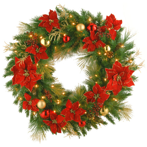 "National Tree DC13-111L-36W 36"" Decorative Collection Home Spun Wreath with 100 Clear Lights"