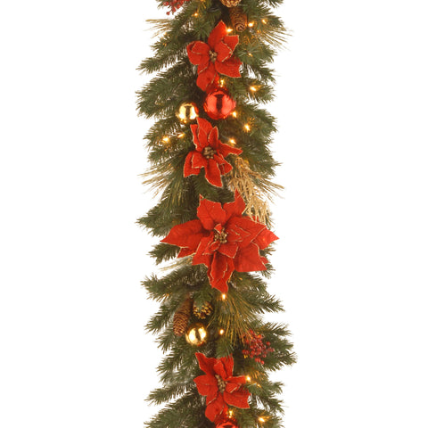 "National Tree DC13-111L-9B 9' x 12"" Decorative Collection Home Spun Garland with 100 Clear Lights"