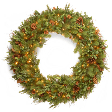 "National Tree DC13-113L-48W-S 48"" Decorative Collection Juniper Mix Pine Wreath with 200 Warm White LED Lights"