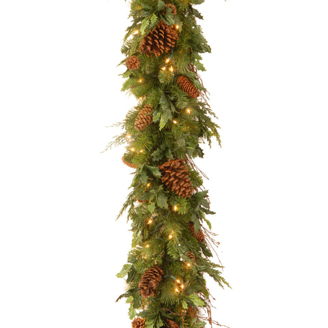 "National Tree DC13-113L-6B-1S 6' x 12"" Decorative Collection Juniper Mix Pine Garland with 100 Warm White LED Lights"