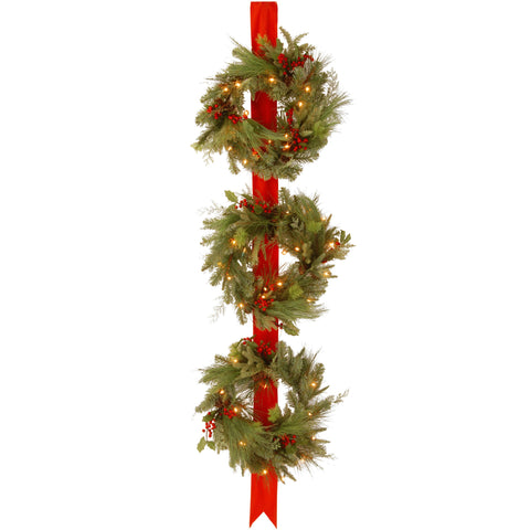 "National Tree DC13-114L-18W Decorative Collection Triple Wreath Door Hang with 3 18"" Wreaths,each with 50 Clear Lights-UL-77"" Ribbon Height"