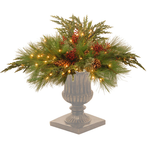 "National Tree DC13-116L-30F 30"" Decorative Collection White Pine Urn Filler with 135 Clear Lights"