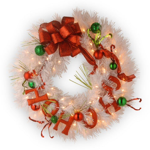 "National Tree DC13-136-24WB-1 24"" Decorative Collection Ho Ho Ho Wreath with Battery Operated Warm White LED Lights"