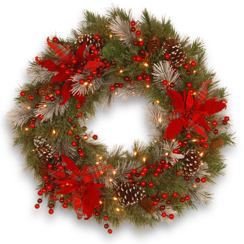 "National Tree DC13-147-24WB-1 24"" Decorative Collection Tartan Plaid Wreath with Cones, Red Berries and Poinsettias with 50 Soft White Battery Operated LEDs with Timer"