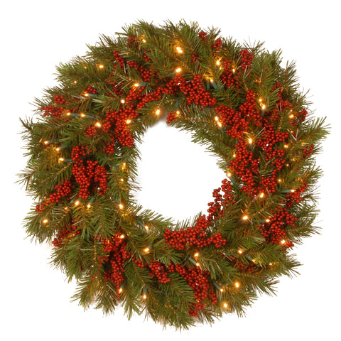 "National Tree DC13-157-24WB-1 24"" Decorative Collection Valley Pine Wreath with Red Berries and 50 Soft White Battery Operated LEDs with Timer"