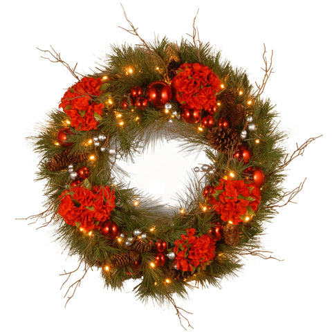 "National Tree DC13-158-24WB-1 24"" Decorative Collection Hydrangea Wreath with Cones, Red Berries and 50 Soft White Battery Operated LEDs with Timer"