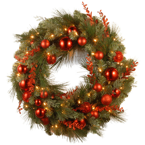 "National Tree DC13-159-24WB-1 24"" Decorative Collection Christmas Red Mixed Wreaths with 50 Soft White Battery Operated LEDs with Timer"