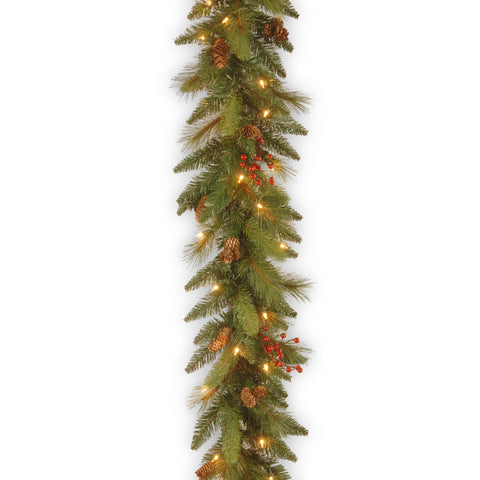 "National Tree DC3-178L-6B 6' x 12"" Decorative Collection Garland with 20 Cones, 5 Red Berries and 35 Clear Lights"